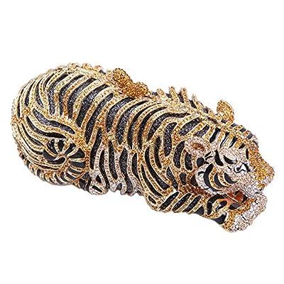 Bonjanvye Small Tiger Clutch Purse Bling Studded Glitter Clutch Evening Bag