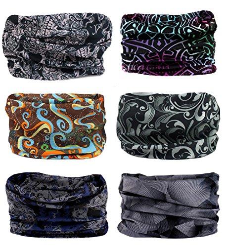 6 Stk Nahtlose Bandanas Multifunktionstuch Elastische Halstuch Schlauchtuch Sport Kopfbedeckung für Yoga, Wandern Reiten Motorradfahren