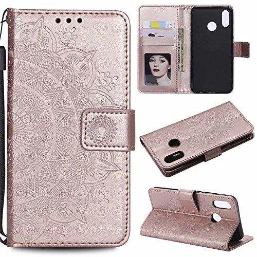 Huawei P20 lite Hülle Fanxwu Flip PU Leder Mandala Blumenmuster geprägte Wallet Case mit Standfunktion Anti-Kratzer Schützend Cover -Roségold -