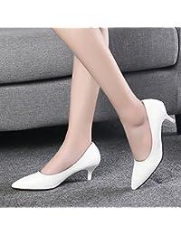 Xue Qiqi Punta Fina con Alto Negro Zapatos de Tacón Que Mujeres con Zapatos de Trabajo Profesional Singles Femeninos...
