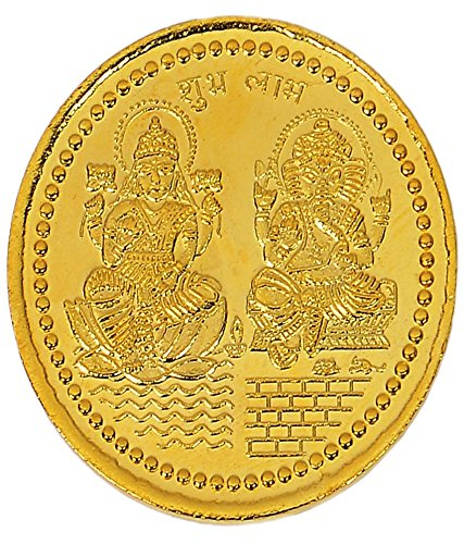 Coin Laxmi Ganesh Ji 24k Gold Plated 10 grams German Silver Coin Good Coin  available at amazon for Rs.401
