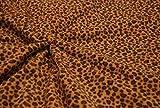CRS Fur Fabrics Calidad Impreso Anti PIL Polar Tela de Forro Polar Material–Arena Leopardo
