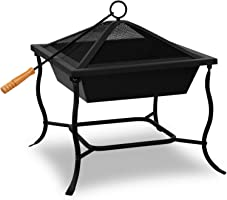 Deuba® Feuerschale | 45x45 eckig | Funkenflugggitter | Feuerstelle Feuerkorb Grillschale BBQ Feuer