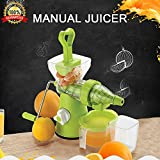 #8: Bagonia Ankur Super Deluxe Manual Hand Fruit & Vegetable Juicer,Home Manual Juicer Fruit Squeezer, Manual Wheatgrass Juicer, Multifunctional 100% Healthy Natural Juice Maker, Strong Vacuum, Poly Carbonate Unbreakable Body (Green)