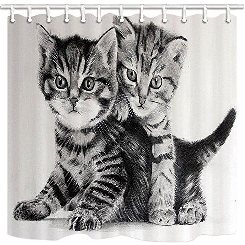 nyngei Animal Duschvorhang Cartoon Katze schwarz und weiß Bild Kunst Druck Polyester-Schimmelresistent-Badezimmer Dusche Vorhang Set mit Haken 180x 180cm Badezimmer Zubehör - Druck-vorhang Runde Rod