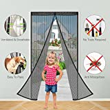 Magnetic Fly Screen Door,Mopoin Heavy Duty Mosquito Door Screen and Full Frame Velcro Door Curtain, Easy to Install without Drilling Top-to-Bottom Seal Hands-Free Bug-Proof Curtain 90 x 210cm ,Black