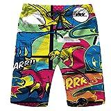 Dinosaurs Comic Pop Art Style Animals Dinosaur Mens Boys Short Swim Trunks with Mesh Lining Quick Dry Mens Bathing Suits Swim Shorts L