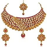 #9: PALASH BEAUTIFUL EYE-CATCHING MEENAKARI DESIGNER GOLD PLATED CHOKER BRIDAL NECKLACES SET FOR WITH PINK AND LCT STONES WOMEN AND GIRLS