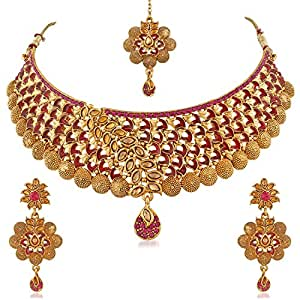 PALASH Beautiful Eye-Catching Meenakari Gold Plated Choker Bridal Necklaces Set For With Pink And Lct Stones Women And Girls