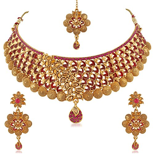 PALASH Beautiful Eye-Catching Meenakari Gold Plated Choker Bridal Necklaces Set For With...