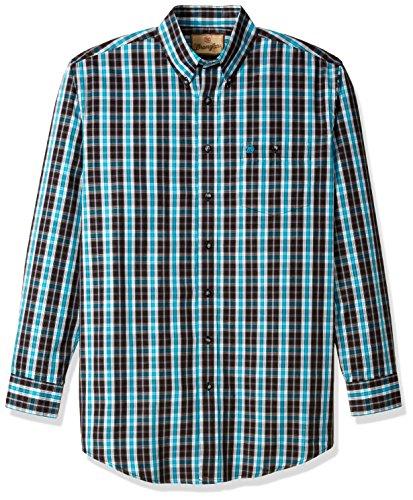 Button-down One Pocket Shirt (Wrangler Herren Men's Western Classic Big and Tall One Pocket Shirt Button Down Hemd, schwarz/türkis, 2X)