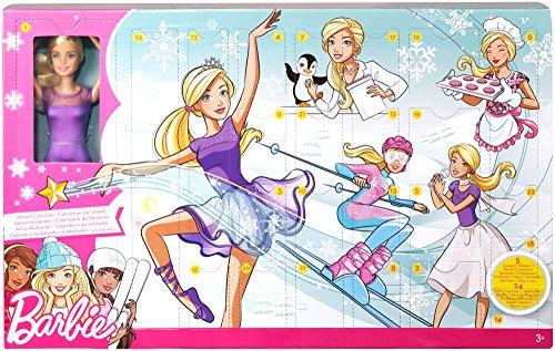Mattel Barbie FTF92 Adventskalender 2018 mit Puppe im lila Kleid, 23 Accessoires und Moden