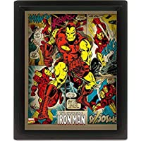 Marvel Retro 10 x cm 20,32 Iron Man enmarcado 3D cartel, Multi-color