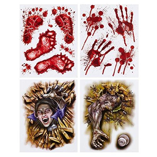 Brauns-Heitmann 30467 - Fenster Haftbild Horror mit Blutabdrücke, 4 Motive Set