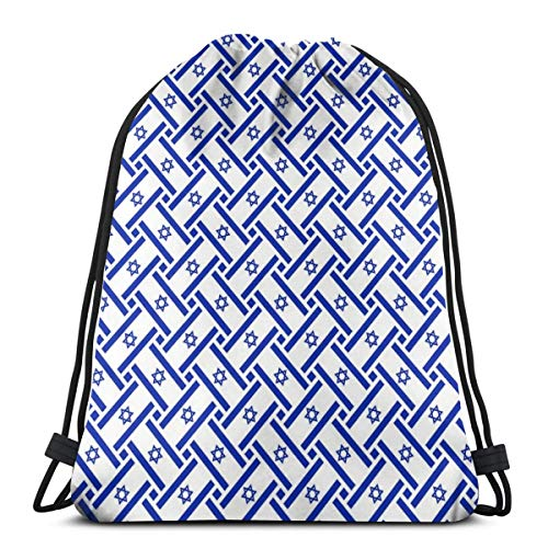 Israel Flag Weave Drawstring Shoulder Bags Gym Bag Travel Backpack Lightweight Gym for Men Women 16.9
