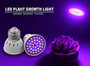 fiori luce blu e rossa regolazione continua e regolabile E14 5w 72led 220v erba Eqwong per serre da giardino Lampada portatile a LED UV per piante da interni