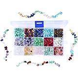 Cizen Perline di Pietre Preziose, 15 Colori Pietre Miste Irregolare, Perline di Pietre Colorate per Creazione di Gioielli Fai