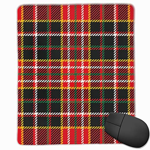 Mouse Mat Stitched Edges, Vertical And Horizontal Lines Tartan Backdrop Scottish Fashion And Culture Inspired,Gaming Mouse Pad Non-Slip Rubber Base