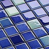 Keramik Mosaik Fliesen Blau Mix Glänzend 6 mm