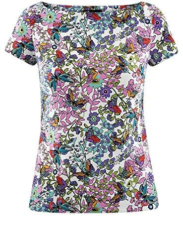 oodji Ultra Damen Enges T-Shirt mit U-Boot-Ausschnitt Mehrfarbig (1241U)