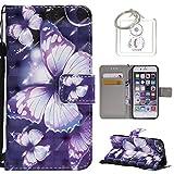 für iPhone 6S (4,7 Zoll) Hülle, Retro 3D Muster PU Leder Hülle Wallet Case Folio Schutzhülle in mit Standfunktion Karteneinschub und Etui Flip Case Schutzhüllen +Schlüsselanhänger (P) (1)