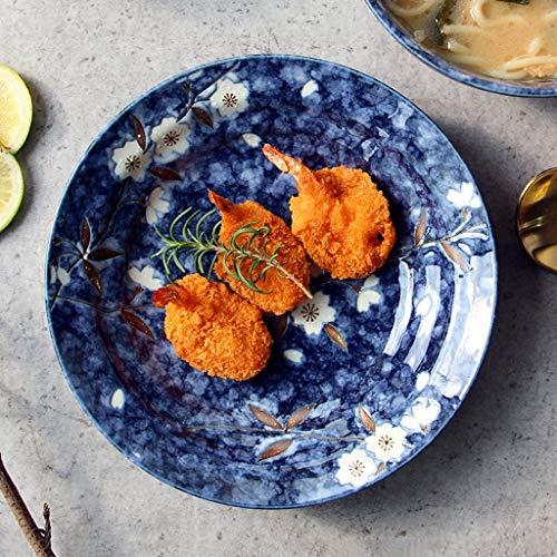 Cuenco elegante Vajilla, Cerámica, Esmalte profundo, Plato, Japonés, Hogar, Ensaladera, Pasta Bowl (calibre 20cm / Bowl Altura 4cm) (Color : Azul)