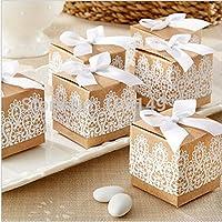 JZK® 50 x Lace Scatoline scatole portaconfetti