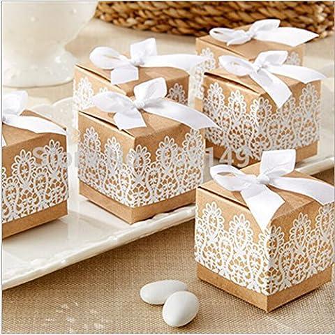 JZK® 50 x Papier kraft en dentelle boîte de faveur