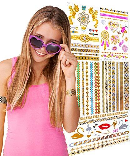 Preisvergleich Produktbild TEMPORÄRE FLASH TATTOOS FÜR MÄDCHEN – 5er Set – Tolles Geschenk & Partyaccessoire Ideal Für Mädchen – Inklusive Gold, Metallic & Bunten Tattoos.