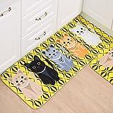 Alfombra Cocina alfombra, essort antideslizante área alfombra de goma Felpudo alfombrilla de patrón de animal franela para cocina sala de estar baño habitación de los niños bebé, yellow Cat, 40x60cm