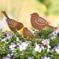 Gartenstecker Vogelfamilie - 3-teilig - Gartendeko - Metall - Rost von PureDay bei Du und dein Garten
