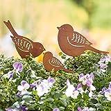 Gartenstecker Vogelfamilie - 3-teilig - Gartendeko - Metall - Rost
