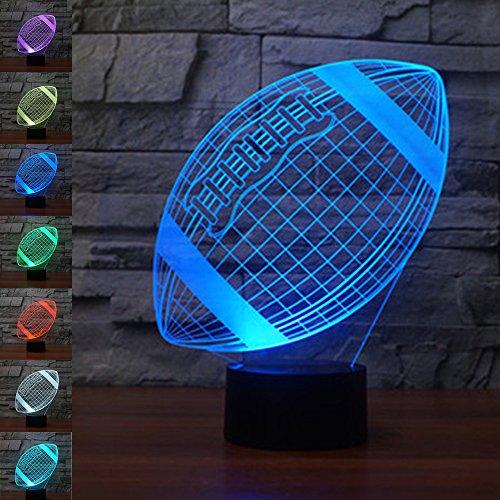 Rote Lampe Base (Rugby Ball Geschenk Nachtlicht 3D neben Tischlampe Illusion, Jawell 7 Farben ändern Touch Switch Schreibtisch Dekoration Lampen Geburtstag Weihnachtsgeschenk mit Acryl Flat & ABS Base & USB Kabel)