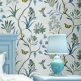 YJZ Vlies Vintage Blumen Vogel Tapete Floral Wand Papier Wandbild Für Wohnzimmer Schlafzimmer Küche Bad, Multicolor,Blue