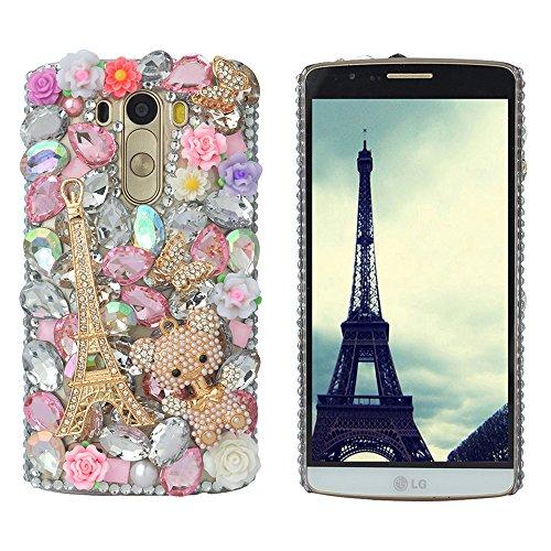 'Spritech (TM) Bling rigida trasparente per cellulare, 3d Handmade Nero Fiore di cristallo Accessary motivo Cellphone Cover, silver, LG Optimus G3