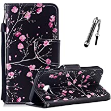Custodia per Samsung Galaxy A5 2017, Cover Case per Samsung Galaxy A5 2017 / A520, ZCRO Cover Pelle per Samsung Galaxy A5 2017 Custodia Portafoglio Flip a Libro Copertura Elegante Completa Protettiva Shell Cuoio in Pelle PU Leather Wallet Book Style Cassa Caso Antiurto con Magnetica Disegni Colorate Supporto Stand Silicone Morbida Back Case Bumper Cover con Stilo Penna per Samsung Galaxy A5 2017 / A520 (Elegante Fiori Rosa)