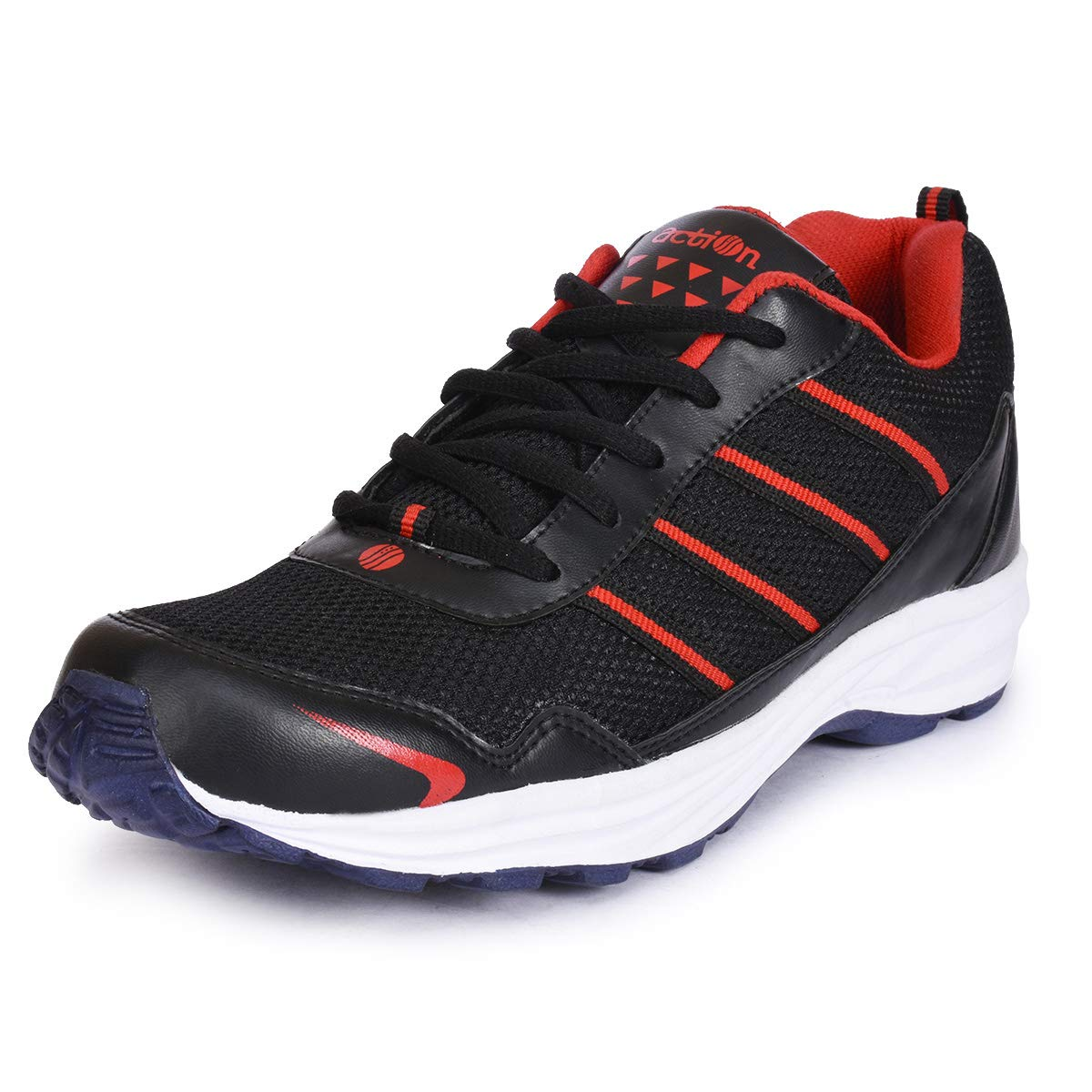 Action Shoes Black-Red Lace up Sports Shoes