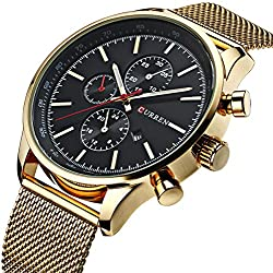 Mens Luxury Stainless Steel Mesh Band Watch With Date Male Casual Dress Sport Wrist Watches Black Gold