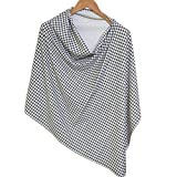 #1: Kadambaby - Premium Nursing Cover / Breastfeeding Poncho / 100% Cotton - Black & white checks Stylish Nursing poncho / can be used as Stole/Scarf