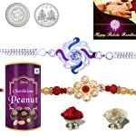 DeoDap Rakhi with Chocolate Combo with Chocolates (Silver and Gold Plated Color, Set of 2, Q2_1-A1_EP96)