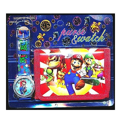 Mario Brothers Children'Armbanduhr-Set inklusive Brieftasche, für Kinder (Jungs und Mädchen), Super Mario Motiv, christliches Geschenk, von Happy Bargains Ltd.