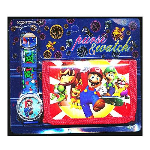 Mario Brothers Children'Armbanduhr-Set inklusive Brieftasche, für Kinder (Jungs und Mädchen), Super Mario Motiv, christliches Geschenk, von Happy Bargains (Mario Brothers Zubehör)