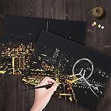 De noche Brillante City Scratch Pintura Creativo trabajo hecho a mano Regalo personalizado, Gift Guante Marco Herramienta Dos Scratch Pintura (Rueda de la fortuna)