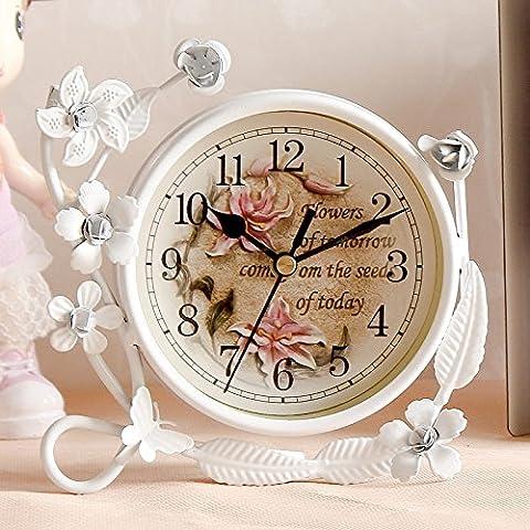FQQRYY Un idilliaco desktop Jong-mute desktop clock creative ferro continentale soggiorno elegante soprammobili , orologi e piccola dell'orologio 12cm