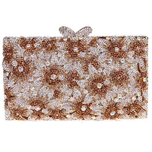 Bonjanvye Glitter Floral Sakura Purses and Handbags for Girls Wedding Party Dress Bag Red brown