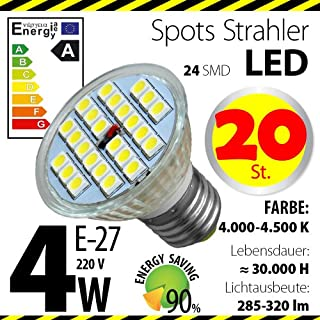 20-er Pack ALMIPEX E27 LED Lampe 4W (320lm - 4500 K - Weiß - 24 x 5050 SMD LED - 120º Abstrahlwinkel - E27 Sockel - 230V AC - 4 Watt - Ø 50×54 mm)