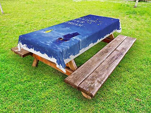 LIS HOME Tischdecke für Segelboote im Freien, Folgen Sie Ihrem Traumtext Schiff segeln über das Meer in Richtung Leuchtturm, dekorative waschbare Picknicktischdecke, Kobaltblau und Gelb -