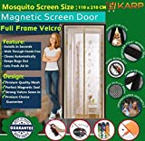 #8: Mosquito Door Net/Curtain - Mag netic Screen Door Full Frame Curtain With Hook and Loop Fastener Tape (110 Cm W X 210 Cm H) (Package Weight - 635 Grams) With Highest Weight In Quality On Amazon By KARP - Flower Design Pattern - Cream Color