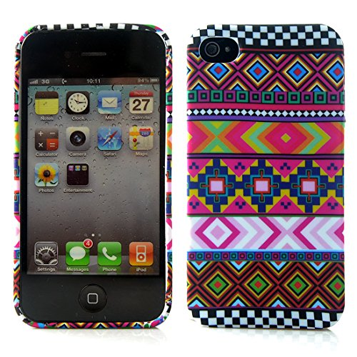 Apple iPhone 5 / 5s Etui Coque - Housse Etui Portefeuille Pu Cuir Rouge Pour Le Apple iPhone 5 5S - thinkmobile Aztec 2