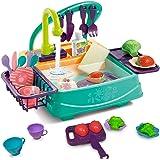 EARSOON Küchenspüle, Küchen-Sets, zum Abwaschen, Schneiden von Gemüse, Spielzeug, elektrischer Geschirrspüler mit fließendem